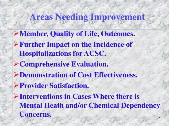 Areas Needing Improvement