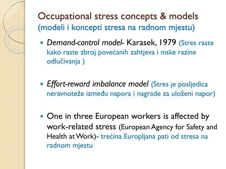 Occupational stress concepts & models