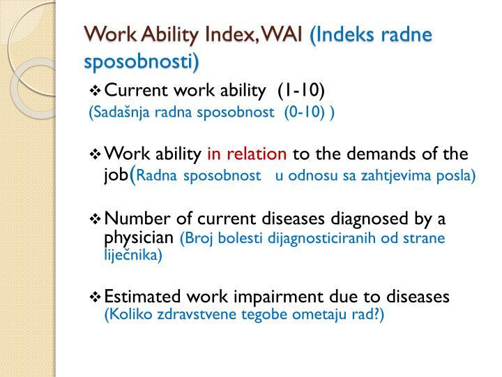 Work Ability Index, WAI