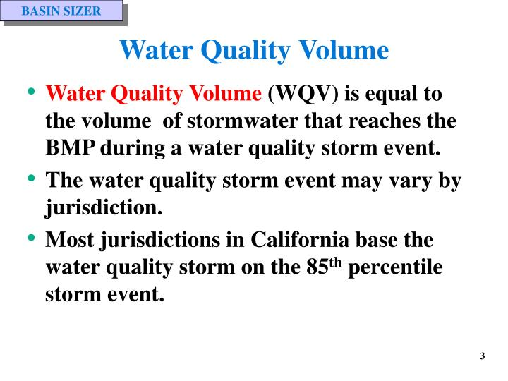 Water quality volume