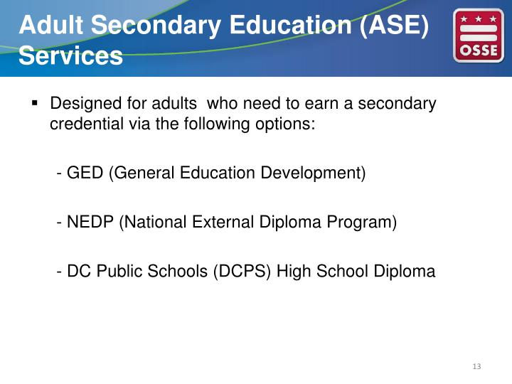 Adult Secondary Education (ASE) Services