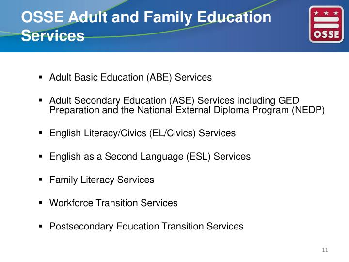 OSSE Adult and Family Education Services