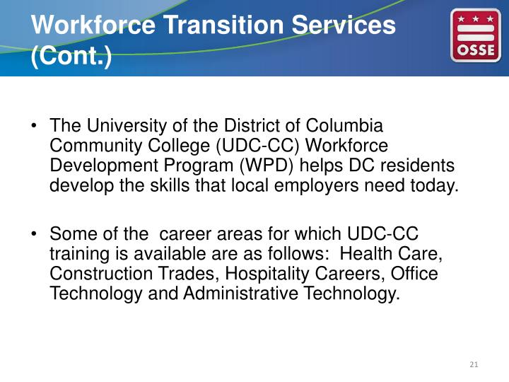 Workforce Transition Services (Cont.)