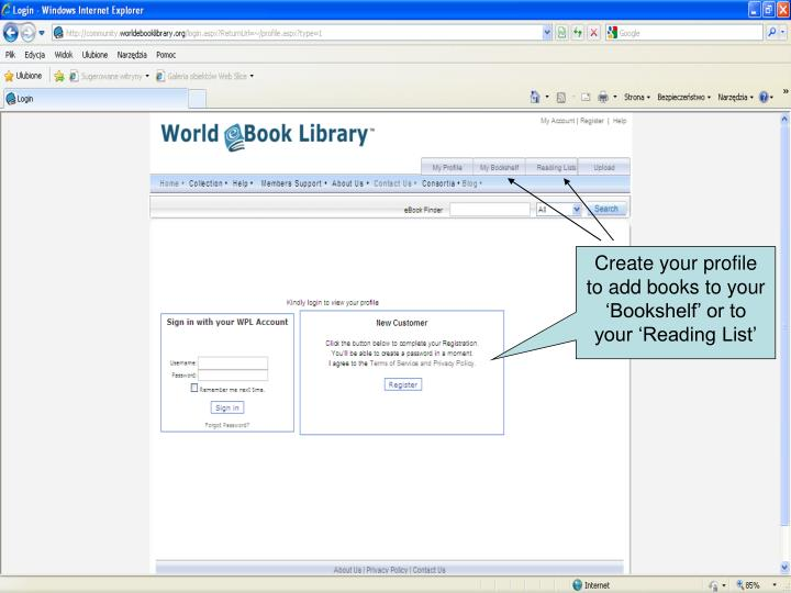 Create your profile to add books to your 'Bookshelf' or to your 'Reading List'