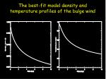 the best fit model density and temperature profiles of the bulge wind