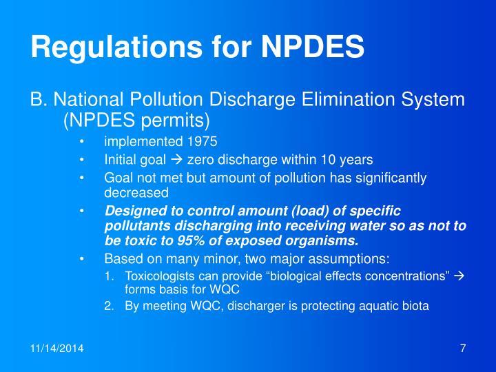 Regulations for NPDES