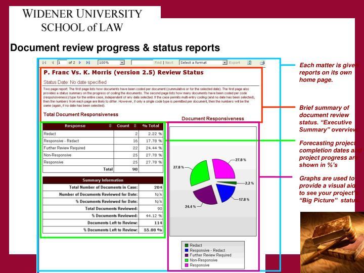 Document review progress & status reports