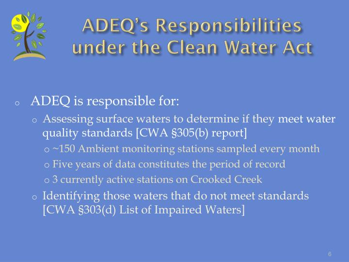 ADEQ's Responsibilities under the Clean Water Act