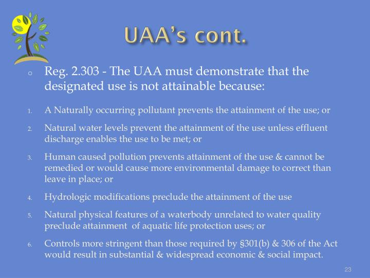 UAA's cont.