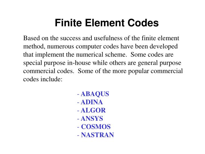 Finite Element Codes
