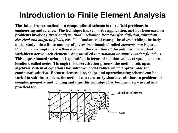 The finite element method is a computational scheme to solve field problems in  engineering and science.  The technique has very wide application, and has been used on problems involving
