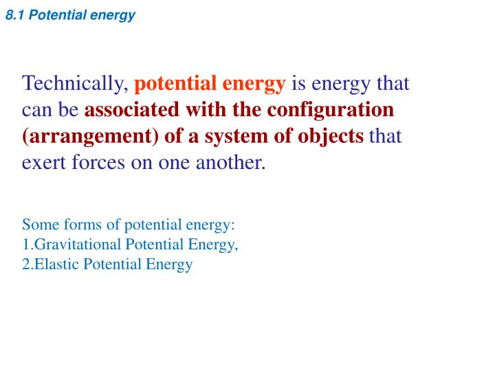8.1 Potential energy