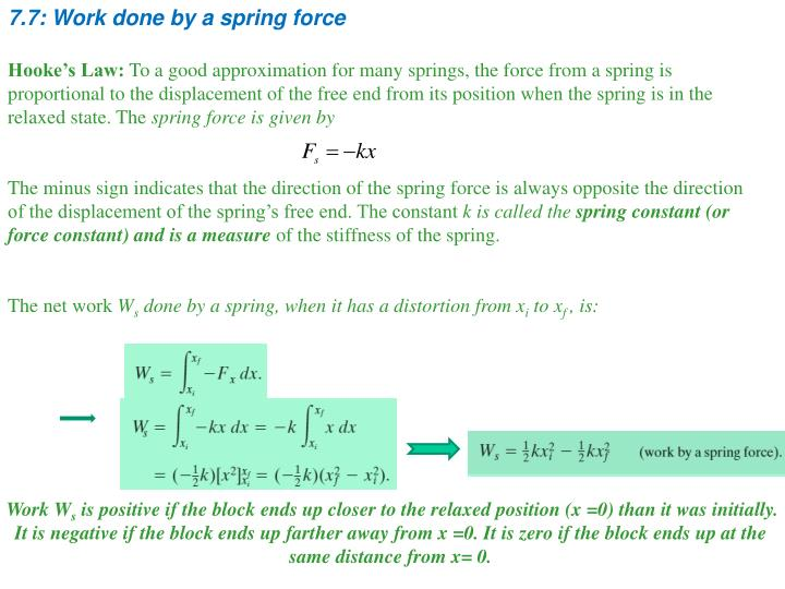 7.7: Work done by a spring force