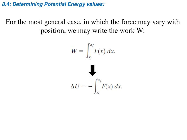 8.4: Determining Potential Energy values: