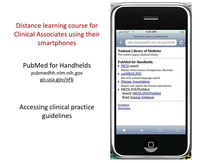 Distance learning course for Clinical Associates using their smartphones
