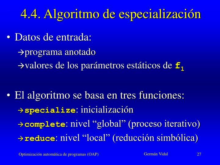 4.4. Algoritmo de especialización