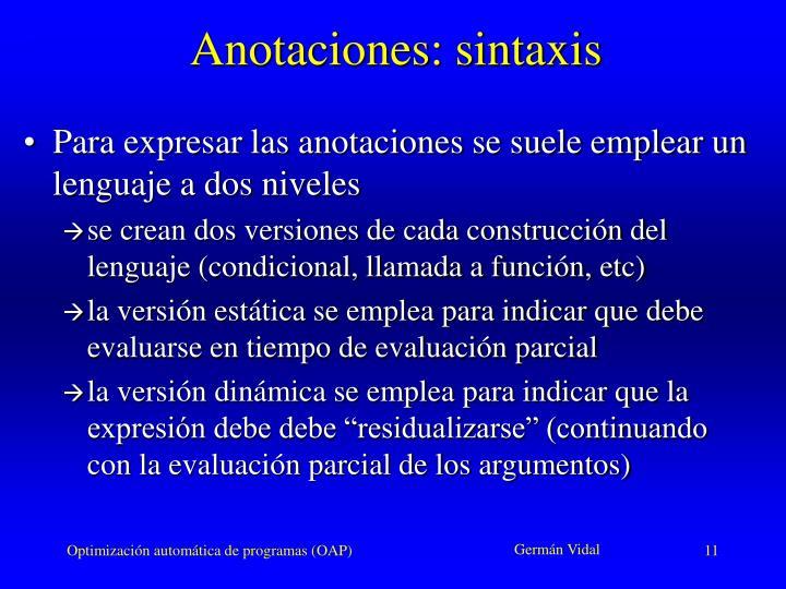 Anotaciones: sintaxis