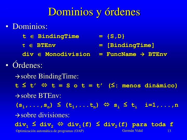 Dominios y órdenes