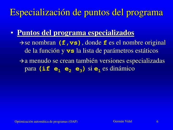 Especialización de puntos del programa