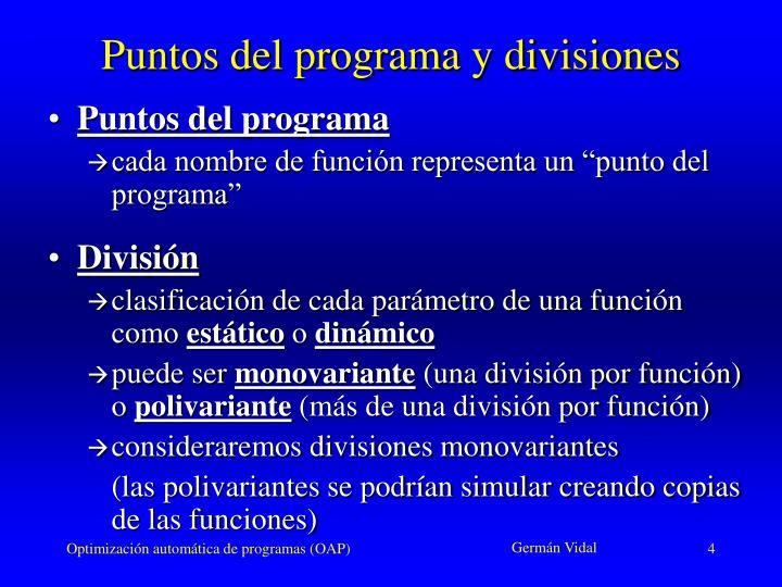 Puntos del programa y divisiones