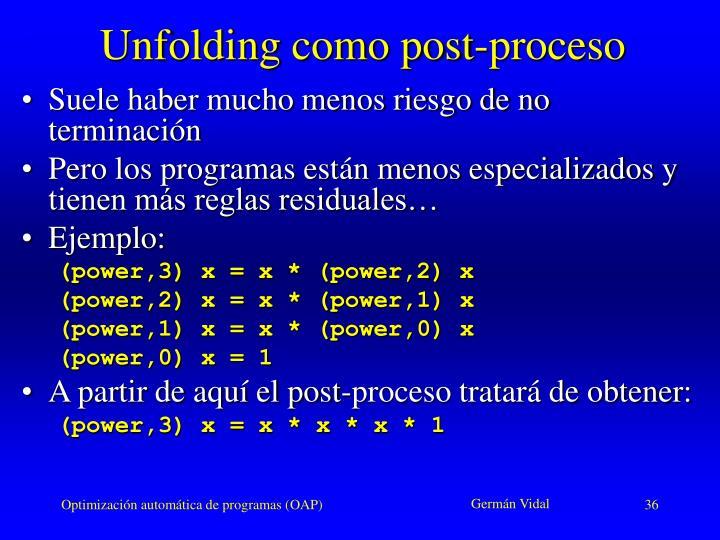 Unfolding como post-proceso