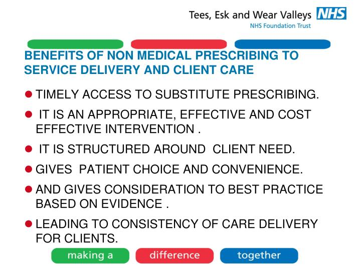 BENEFITS OF NON MEDICAL PRESCRIBING TO SERVICE DELIVERY AND CLIENT CARE