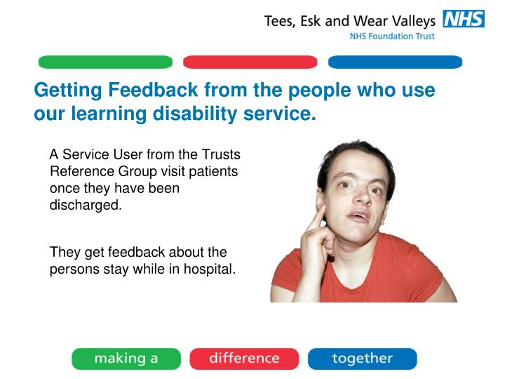 Getting Feedback from the people who use our learning disability service.