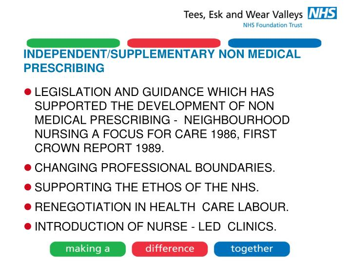 INDEPENDENT/SUPPLEMENTARY NON MEDICAL PRESCRIBING