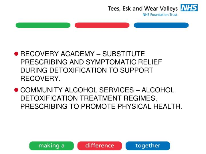 RECOVERY ACADEMY – SUBSTITUTE PRESCRIBING AND SYMPTOMATIC RELIEF DURING DETOXIFICATION TO SUPPORT RECOVERY.