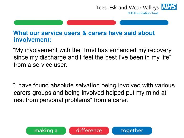 What our service users & carers have said about involvement: