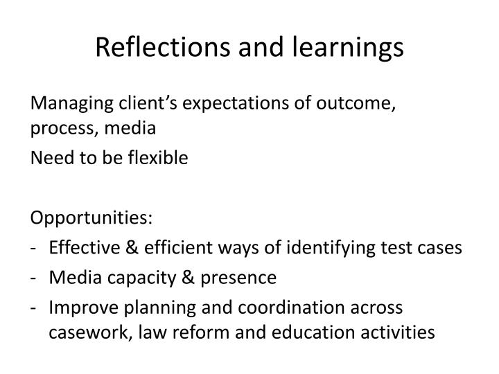 Reflections and learnings