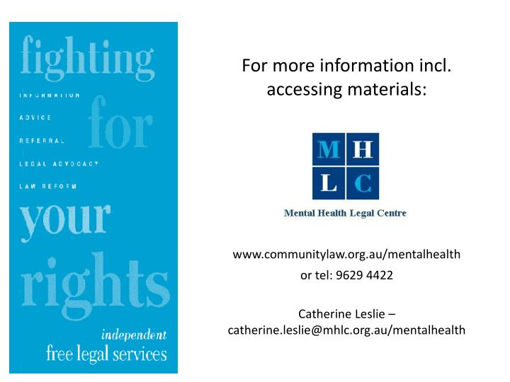 For more information incl. accessing materials:
