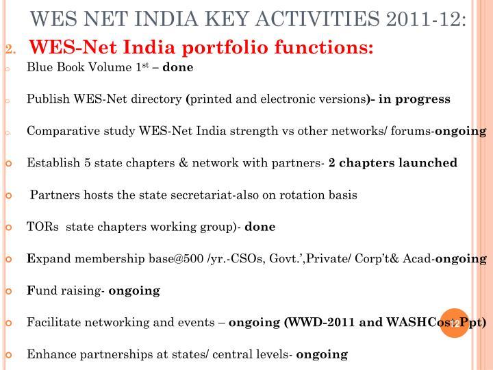 WES NET INDIA KEY ACTIVITIES 2011-12: