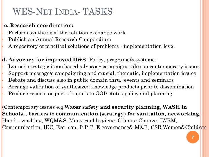 WES-Net India- TASKS