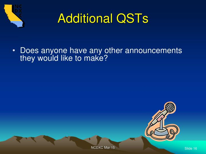 Additional QSTs