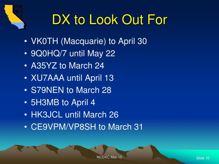 DX to Look Out For
