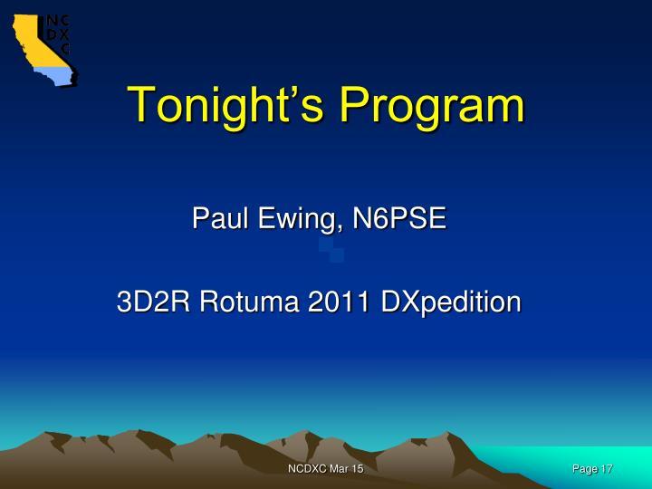 Tonight's Program