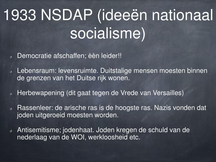 1933 NSDAP (ideeën nationaal socialisme)