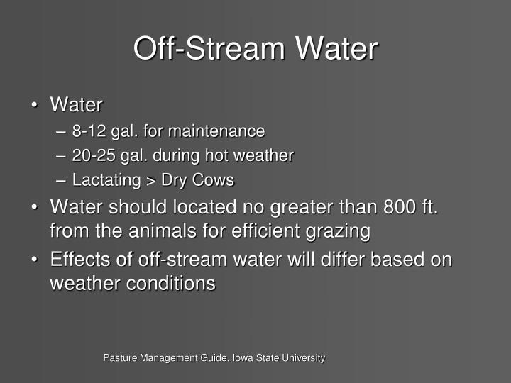 Off-Stream Water