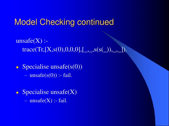 Model Checking continued