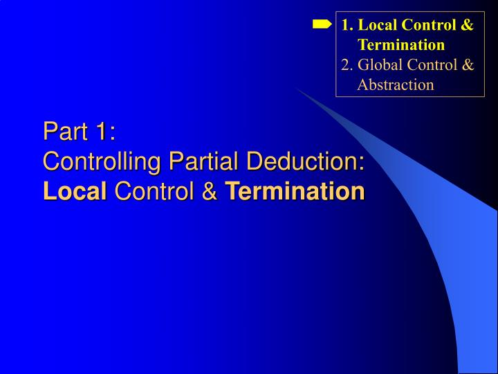 1. Local Control &