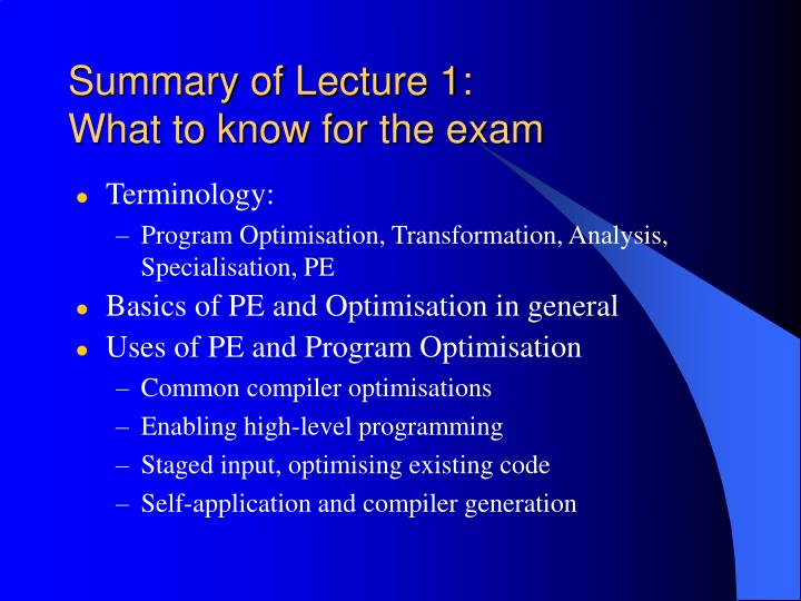 Summary of Lecture 1:
