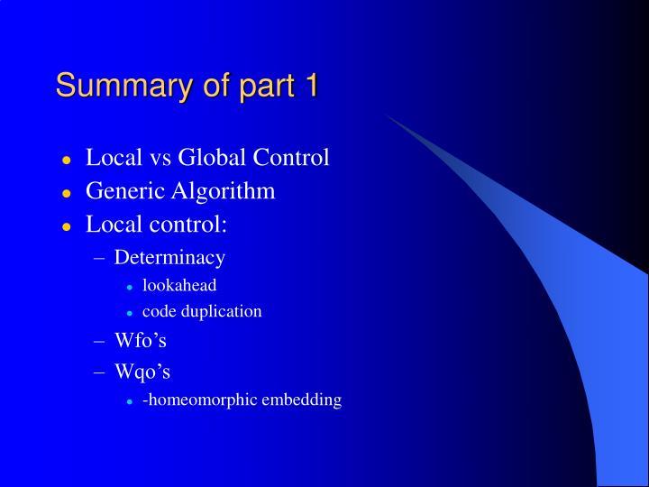 Summary of part 1