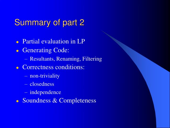 Summary of part 2