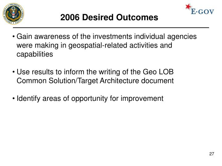 2006 Desired Outcomes
