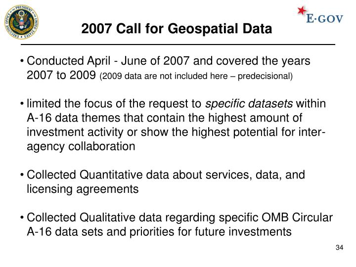 2007 Call for Geospatial Data