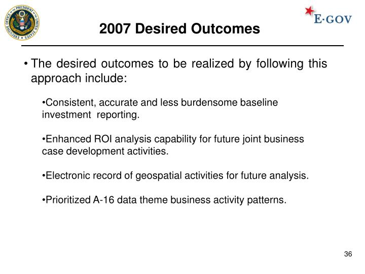 2007 Desired Outcomes