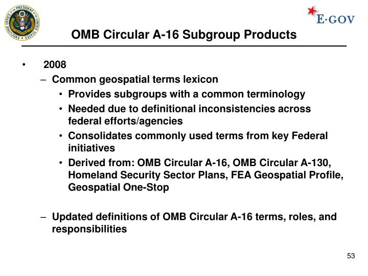 OMB Circular A-16 Subgroup Products