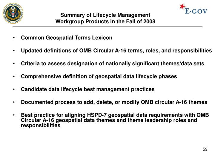 Summary of Lifecycle Management