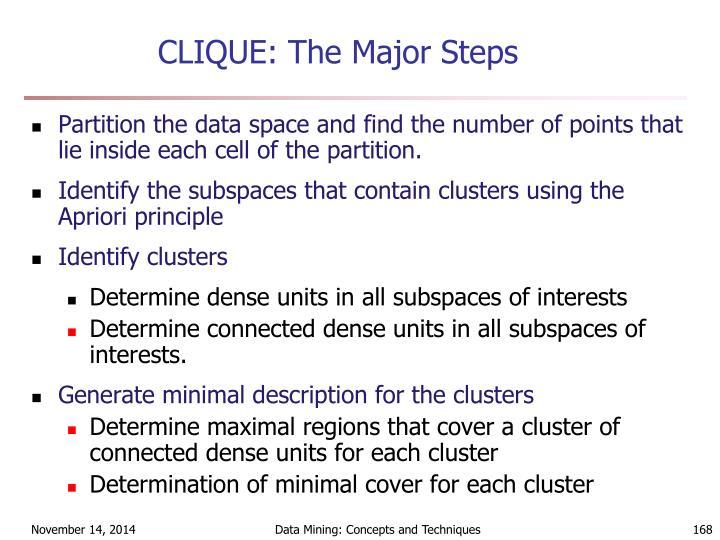 CLIQUE: The Major Steps